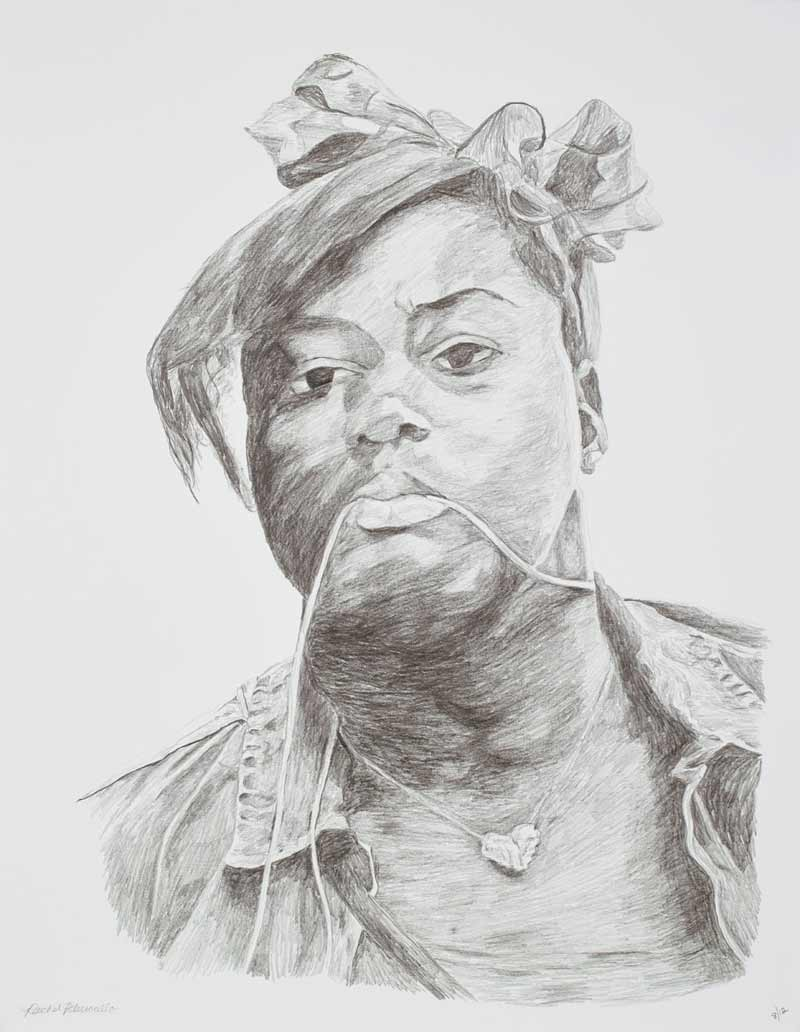 Portrait drawing of a young woman with a heart shaped necklace and hair bow, Downtown Brooklyn, New York. Copyright Rachel Petruccillo