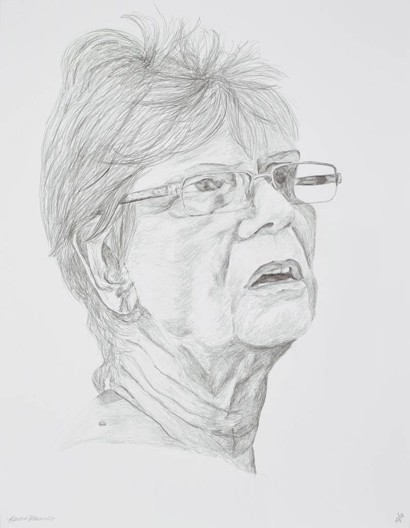 Portrait drawing of an older woman with short hair and glasses at a Farm Stand, Mattituck, New York. Copyright Rachel Petruccillo