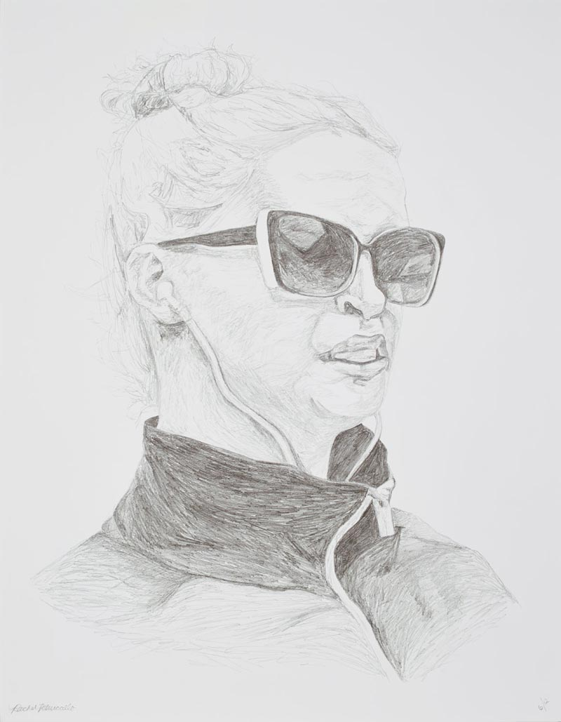 Portrait drawing of a young blond woman with top knot, sunglasses and ear buds in downtown Brooklyn, New York. Copyright Rachel Petruccillo