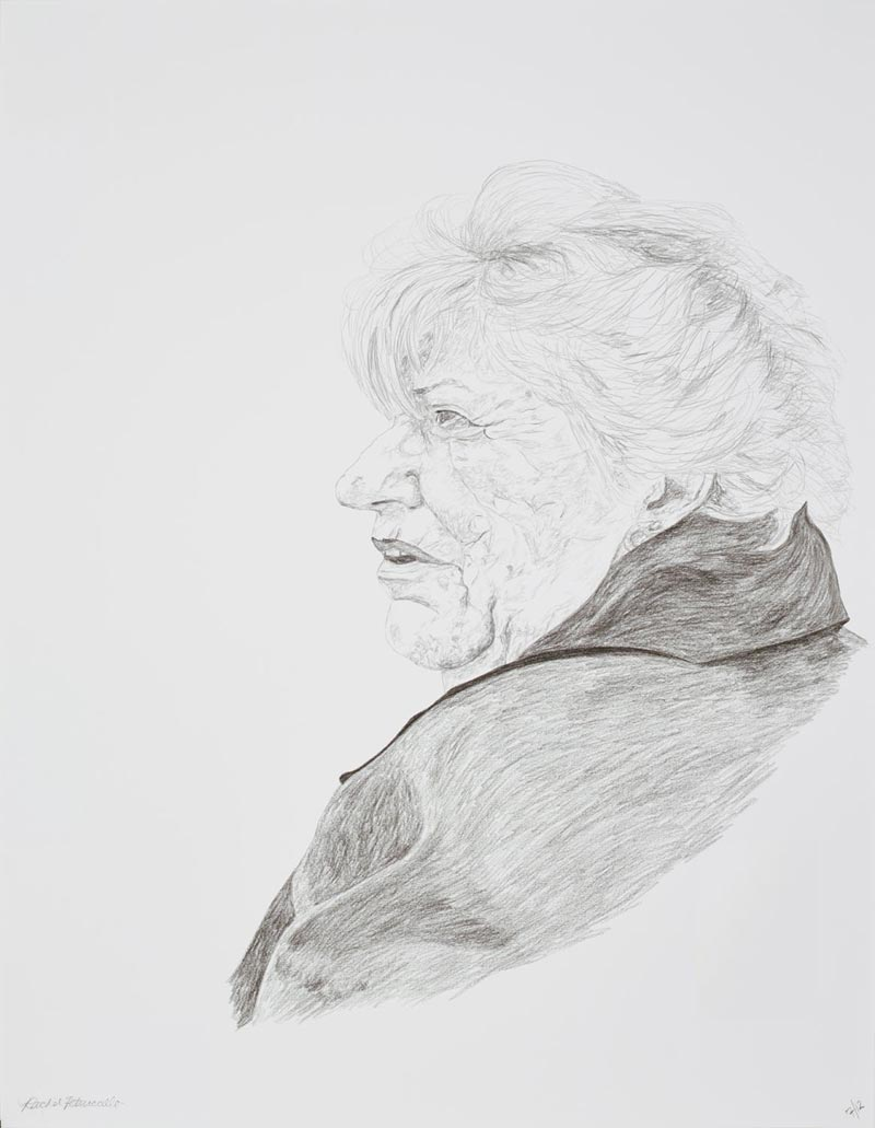Portrait drawing of an older woman at a protest on Long Island, New York. Copyright Rachel Petruccillo