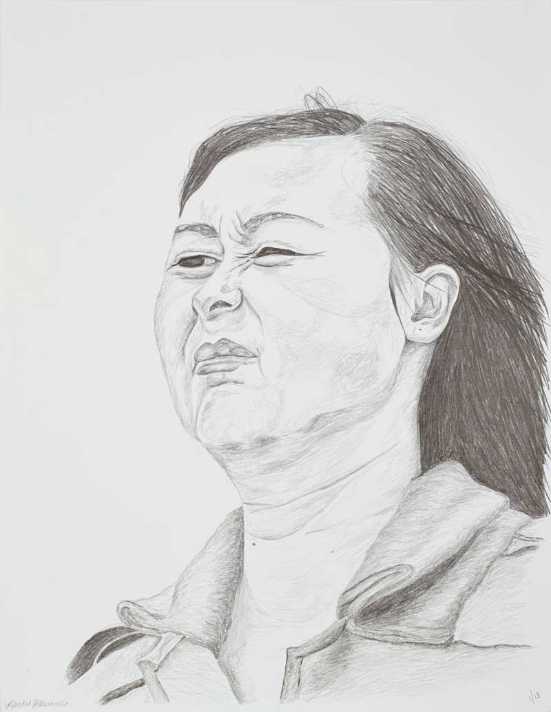 Portrait drawing of a Chinese woman squinting into the sun - Avenue of Stars, Hong Kong. Copyright Rachel Petruccillo