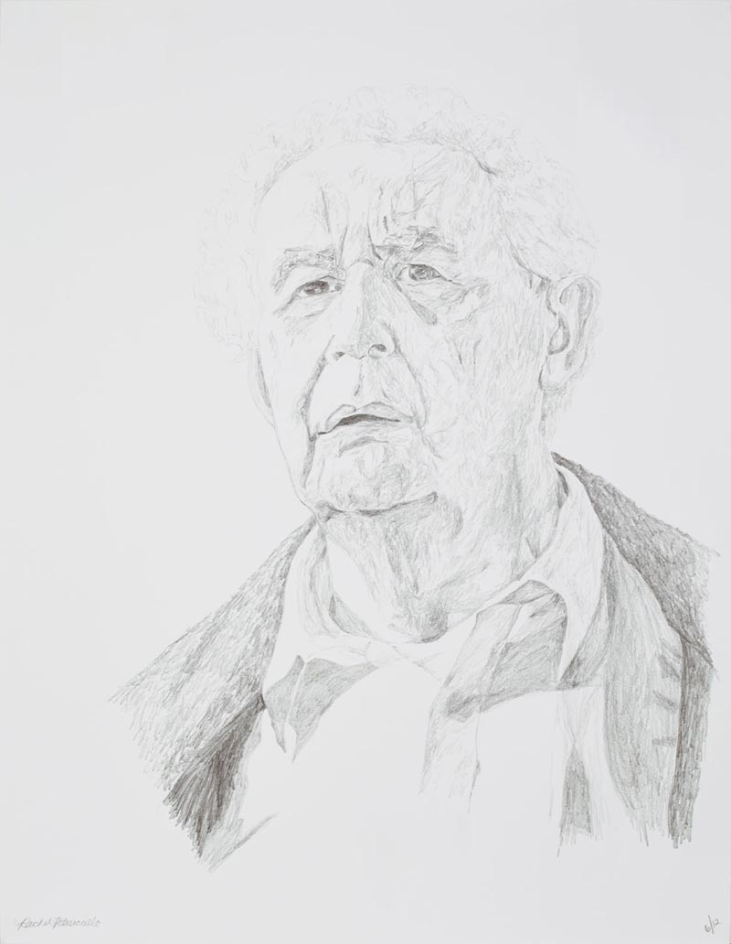 Portrait drawing of an older man in the Luxembourg Gardens in Paris, France. Copyright Rachel Petruccillo