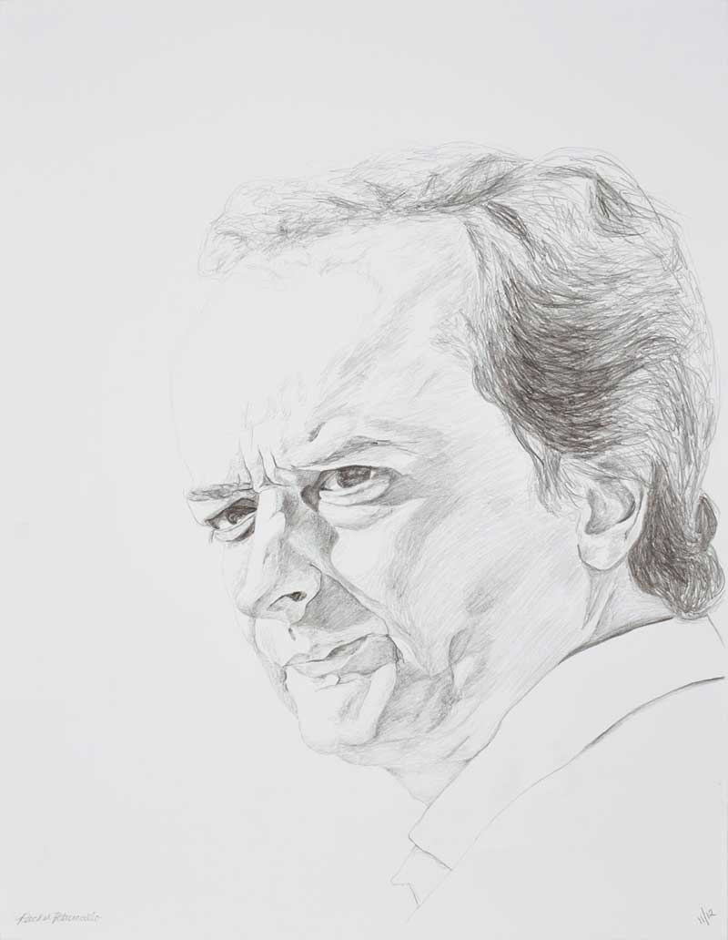 Portrait drawing of a man on a Sunday afternoon in March, Luxembourg Garden, Paris. Copyright Rachel Petruccillo