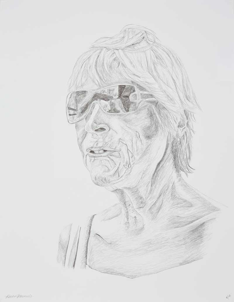Portrait drawing of an older woman wearing sunglasses, Long Island, New York. Copyright Rachel Petruccillo