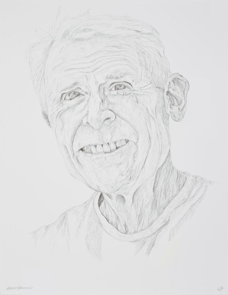 Portrait drawing of an older man smiling, New York. Copyright Rachel Petruccillo