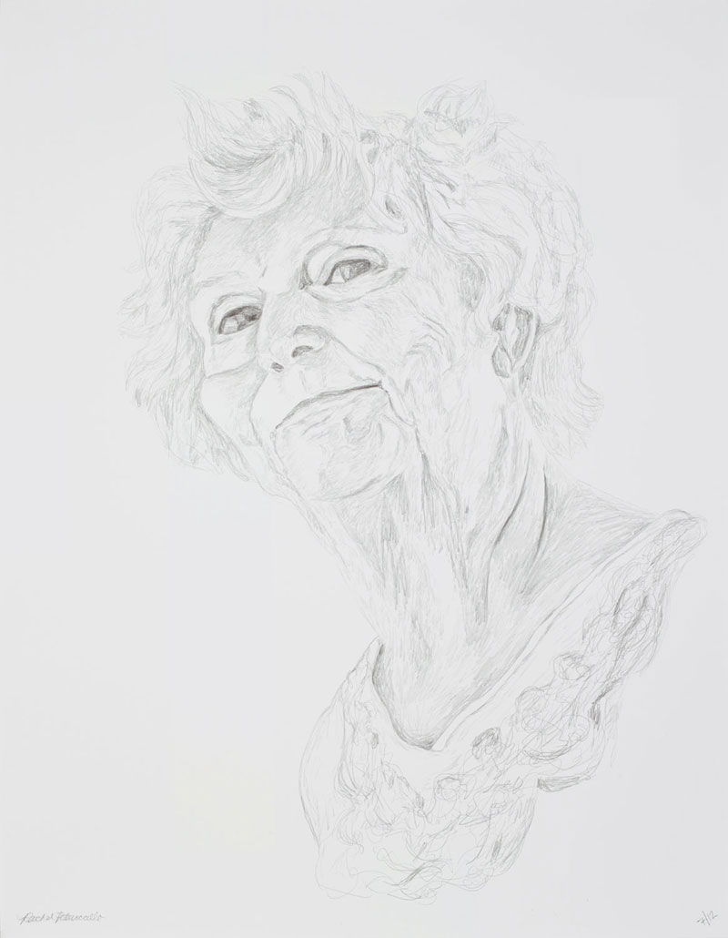 Portrait drawing of an older woman smiling, New York. Copyright Rachel Petruccillo