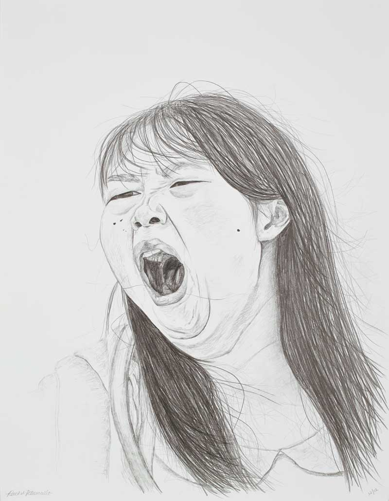 Large portrait drawing of a young Chinese woman yawning, Hong Kong. Copyright Rachel PetruccilloWalking the Avenue of Stars, Hong Kong (20x26 inches, graphite on paper)