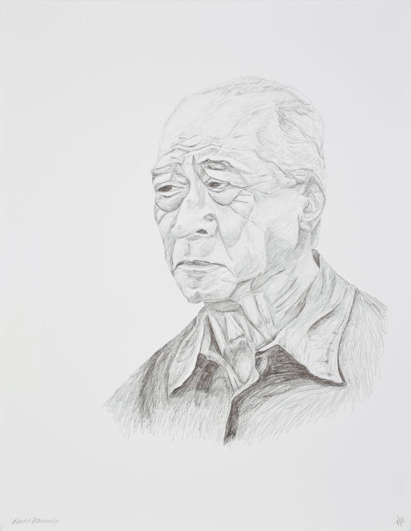 Large portrait drawing of an older Asian man in New York, 20x26 inches, graphite on paper. Original artwork by Rachel Petruccillo
