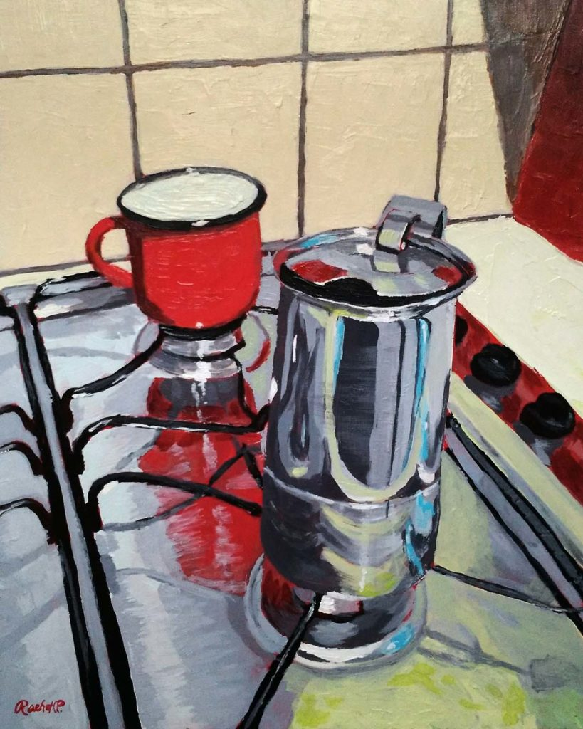 acrylic painting of a moka pot on a stove top in a kitchen in Florence, Italy - copyright Rachel Petruccillo