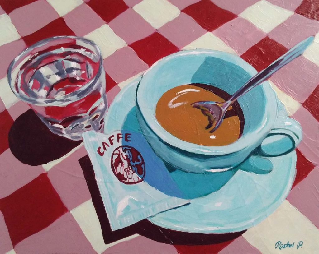 acrylic painting of an espresso and glass of sambuca at a restaurant in Italy - copyright Rachel Petruccillo