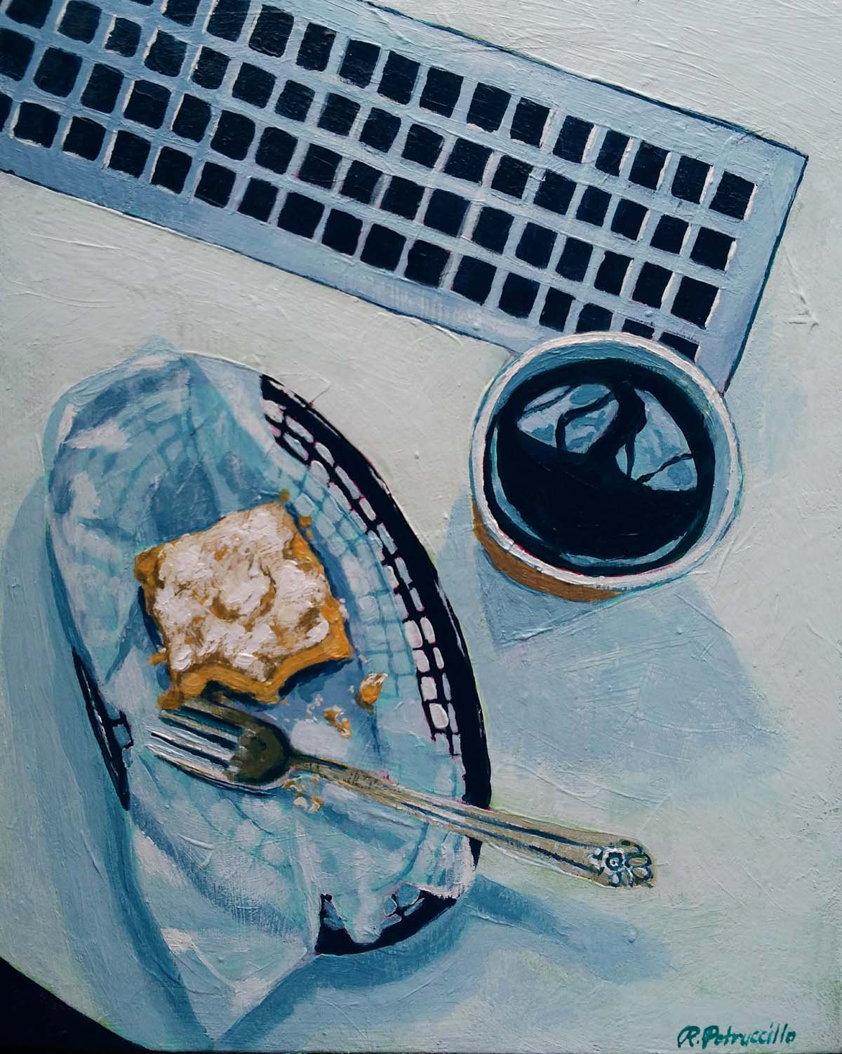 painting of a take out coffee and pastry at a cafe in a coastal New England town - copyright Rachel Petruccillo