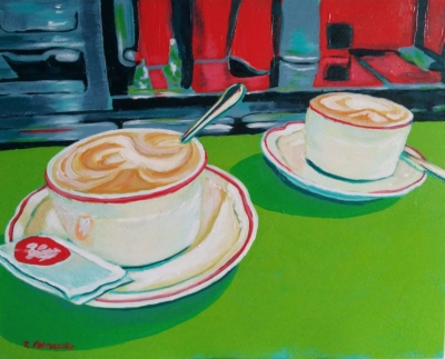 acrylic painting of two cappuccino coffees at a cafe in Italy - copyright Rachel Petruccillo