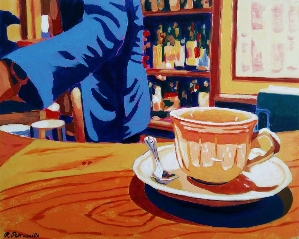 acrylic painting of a cup on a bar counter at a cafe in Florence, Italy - copyright Rachel Petruccillo