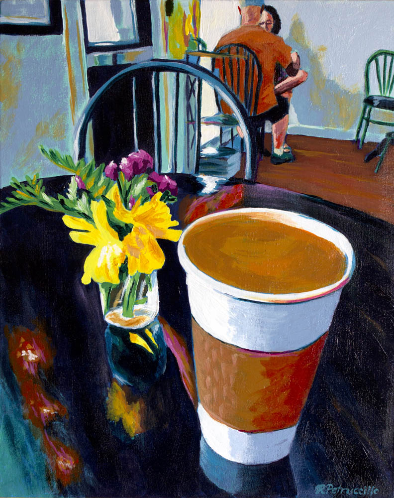 acrylic painting of a cup of coffee at a cafe in Wickford, Rhode Island - copyright Rachel Petruccillo