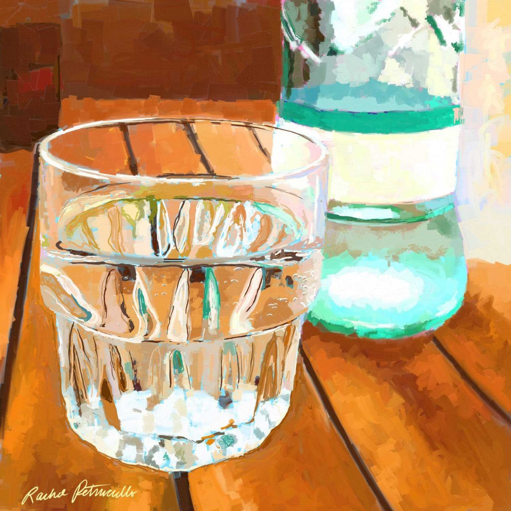 digital painting of a clear glass of sparkling water with bottle - copyright Rachel Petruccillo - created with Artrage