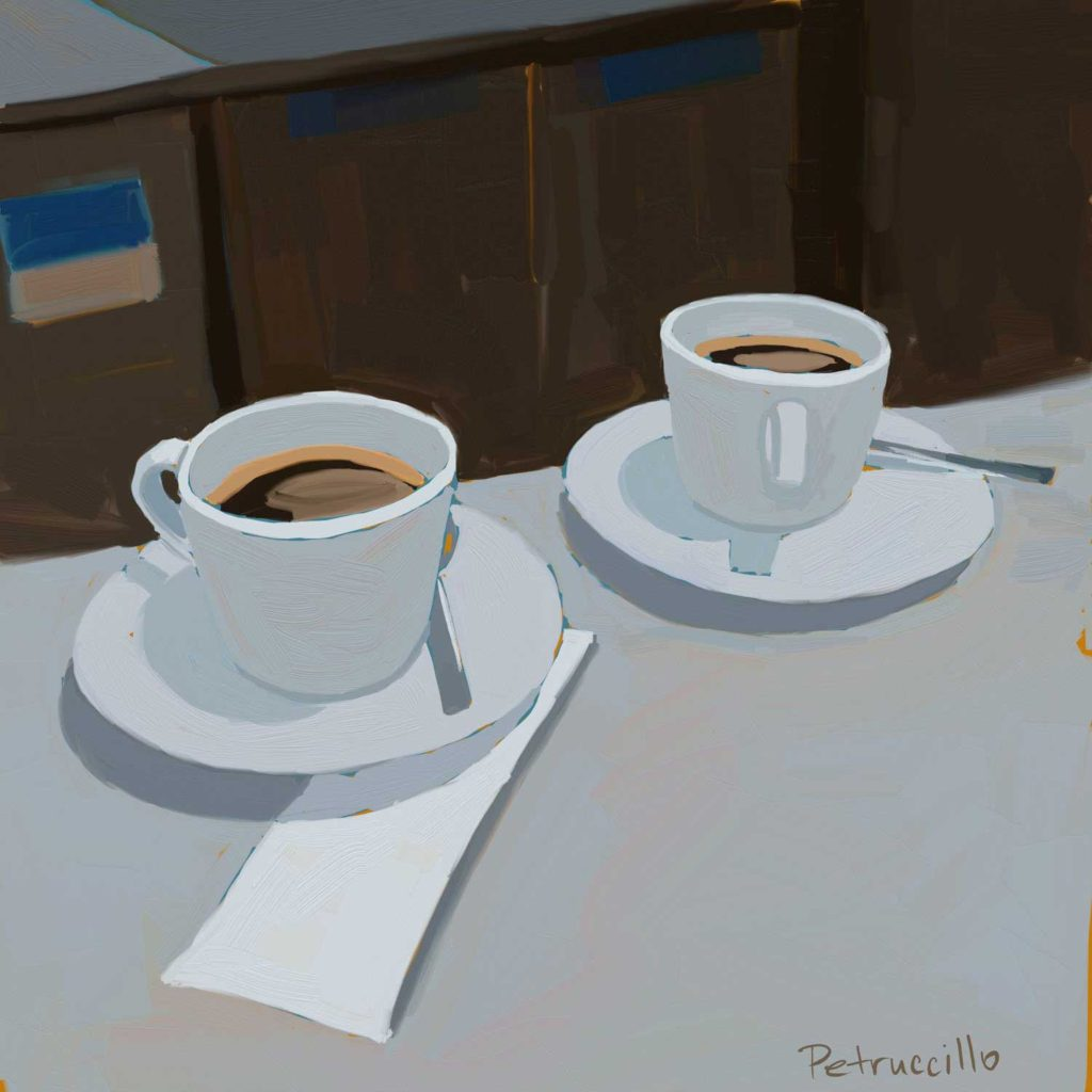 digital painting of two black coffees on a bar counter - copyright Rachel Petruccillo - created with Artrage