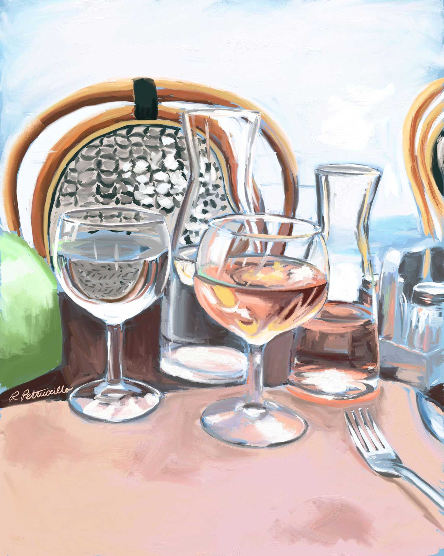 Digital painting of wine and water glasses on a bistro table in Paris created with Artrage - Rachel Petruccillo