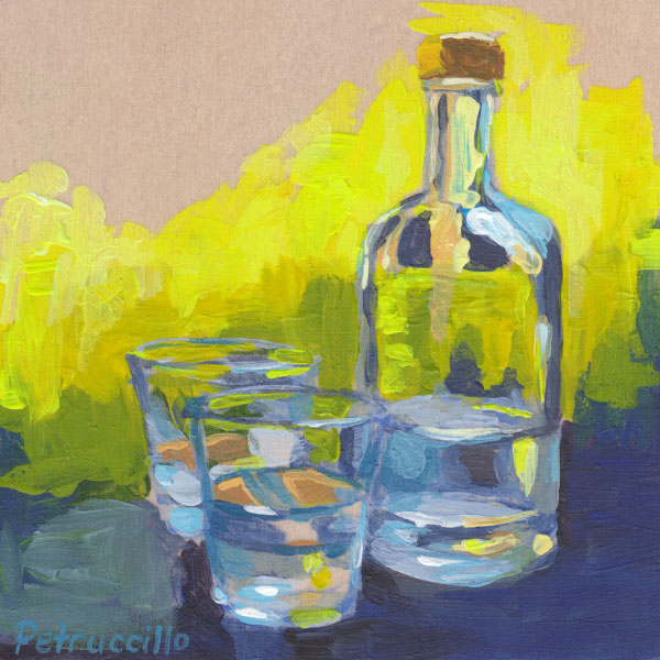 semi abstract painting of a carafe of water and two water glasses