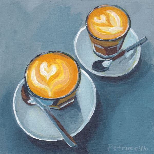acrylic painting of two lattes with heart shaped foam
