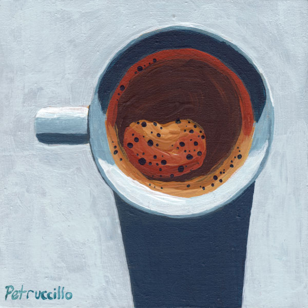 acrylic painting looking down at a cup of coffee