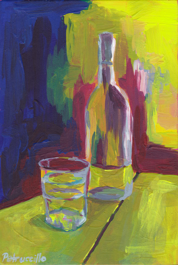 semi abstract acylic painting of a bottle of water with a glass