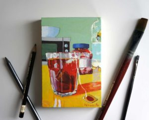 red tea and jam in the kitchen, painting on panel