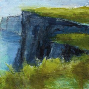 mixed media painting, above the real, cliffs of moher, ireland