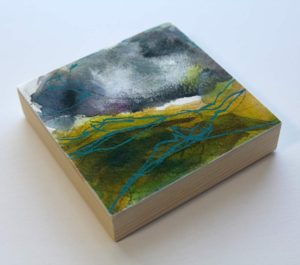 """""""thrown thunder"""" - abstracted mixed media painting inspired by irish landscapes"""