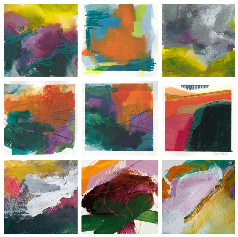 small abstract landscapes on paper with limited brush strokes