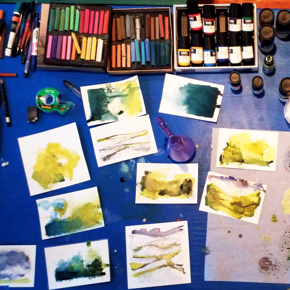 art supplies on the table in my studio