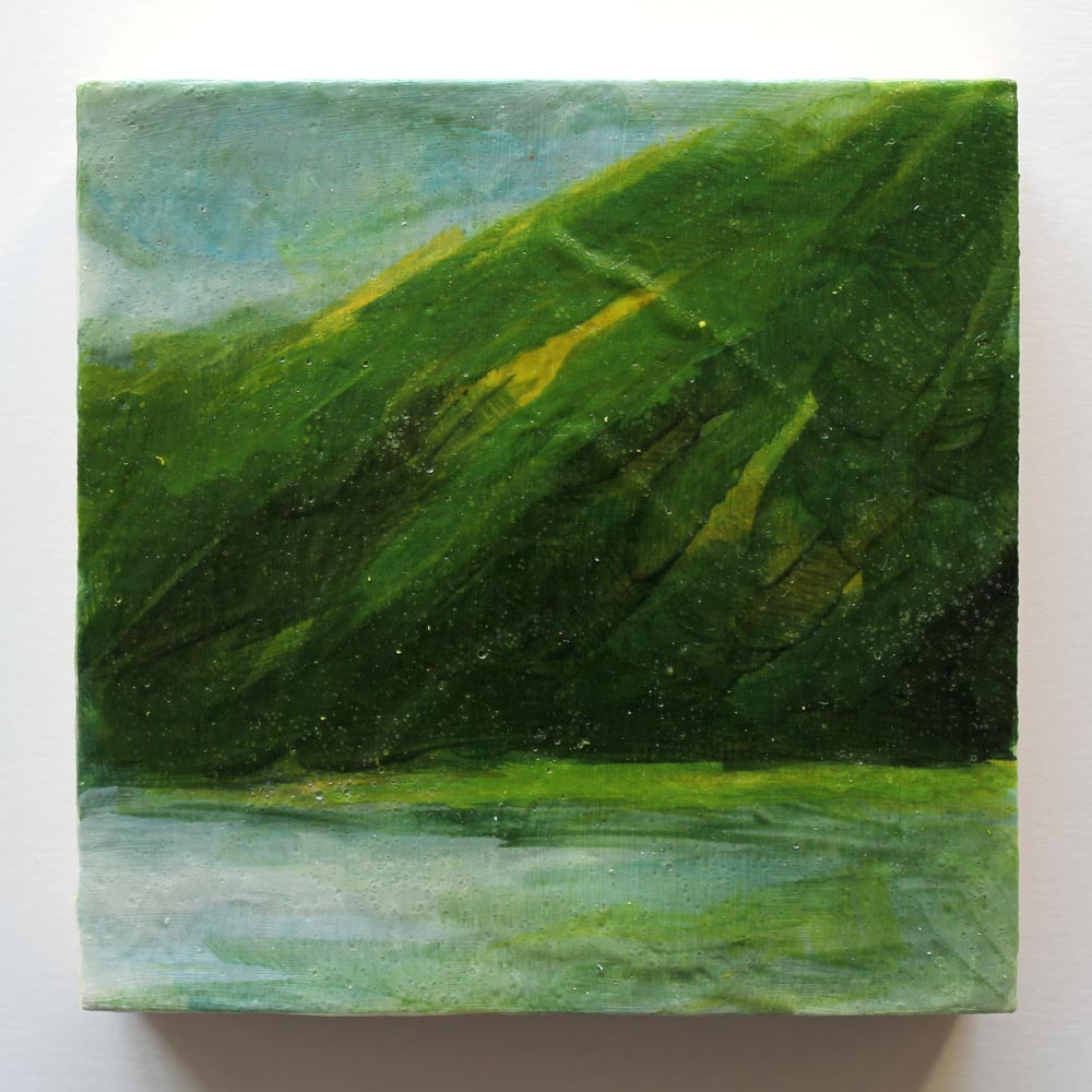 mixed media landscape painting inspired by the moonlight illuminating a lake in Ireland