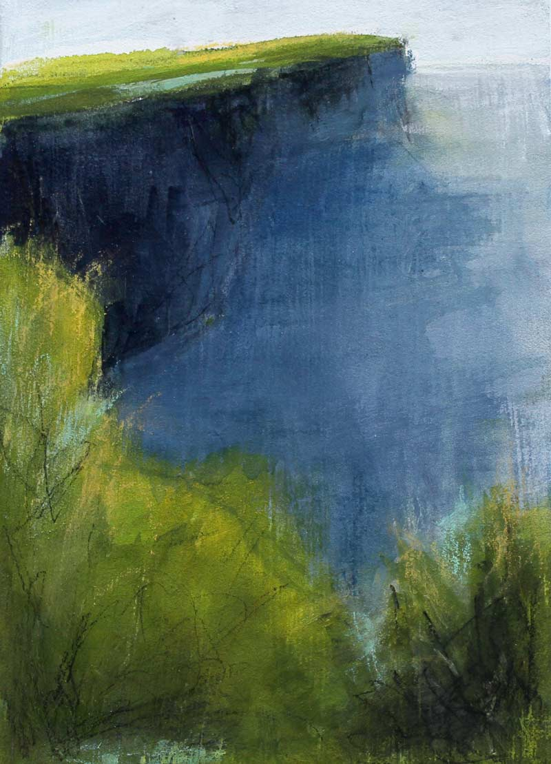 mixed media landscape painting inspired by the Cliffs of Moher, County Clare, Ireland