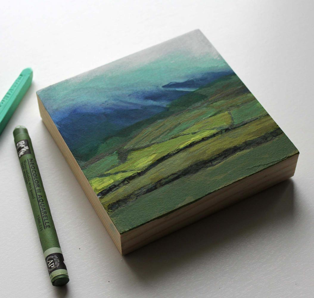 side view of a small mixed media landscape painting inspired by Dingle Peninsula, County Kerry, Ireland