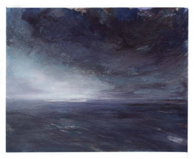 abstracted mixed media seascape painting (on yupo paper) inspired by the coast of Ireland