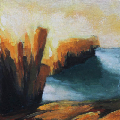 semi abstract landscape painting inspired by the Cliffs of Moher, County Clare, Ireland