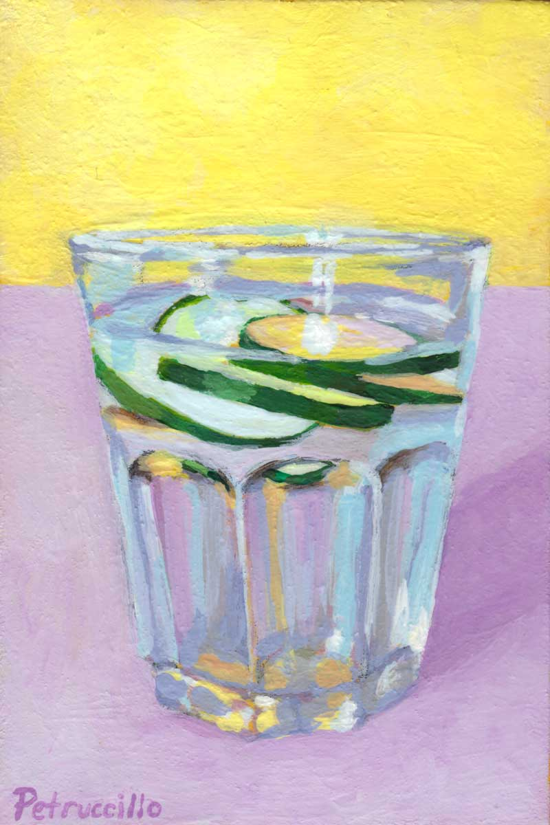 painting of a glass of water with cucumber slices on purple and yellow