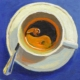 painting of a cup of coffee with yin-yang in the crema