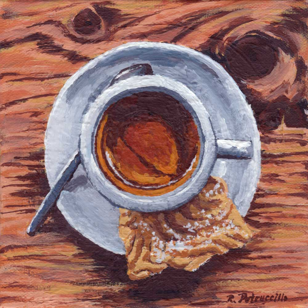 painting of an espresso and cookie on a wood table in a cafe