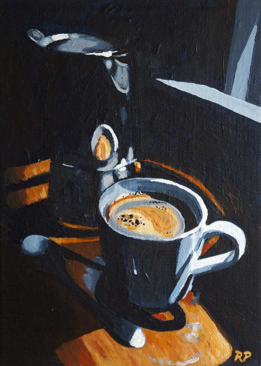 painting of a cup of coffee and moka pot in dramatic light