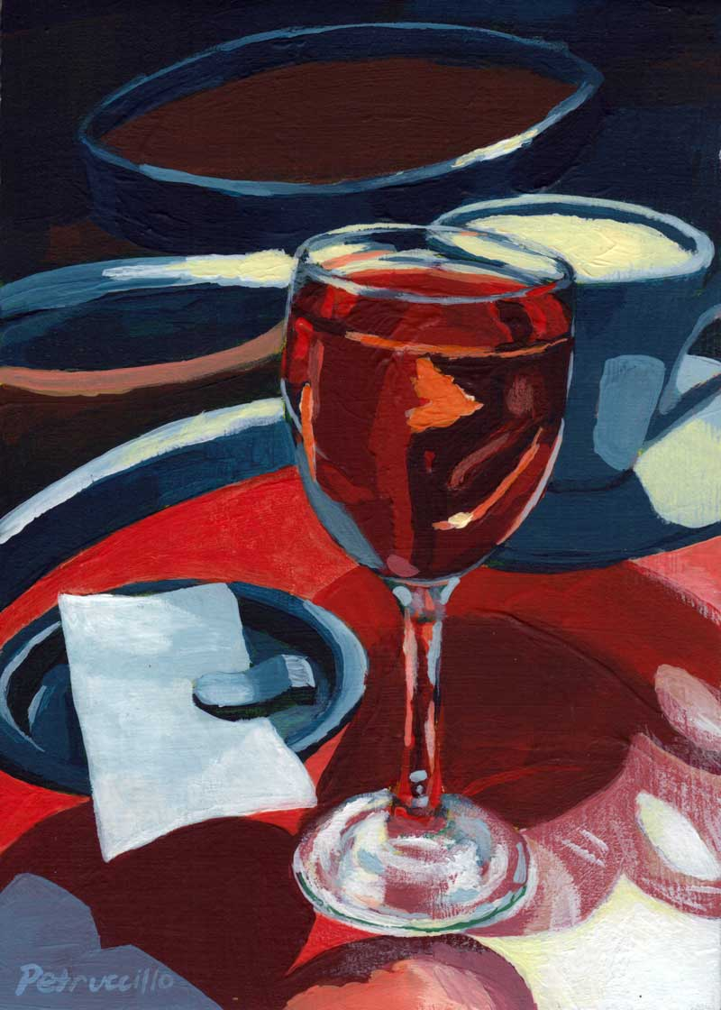 painting of a glass of rosé at a sidewalk cafe in Paris