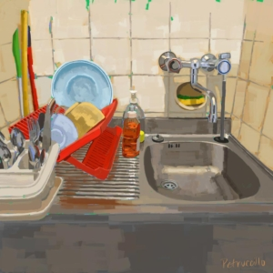 digital painting of my kitchen in florence, italy