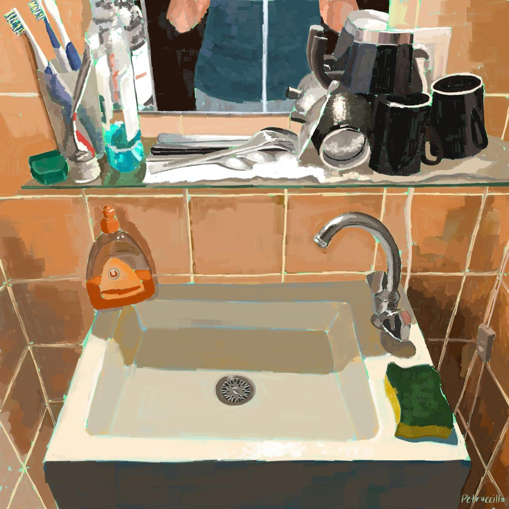 digital painting of the bathroom/kitchen sink in our Strasbourg, France studio