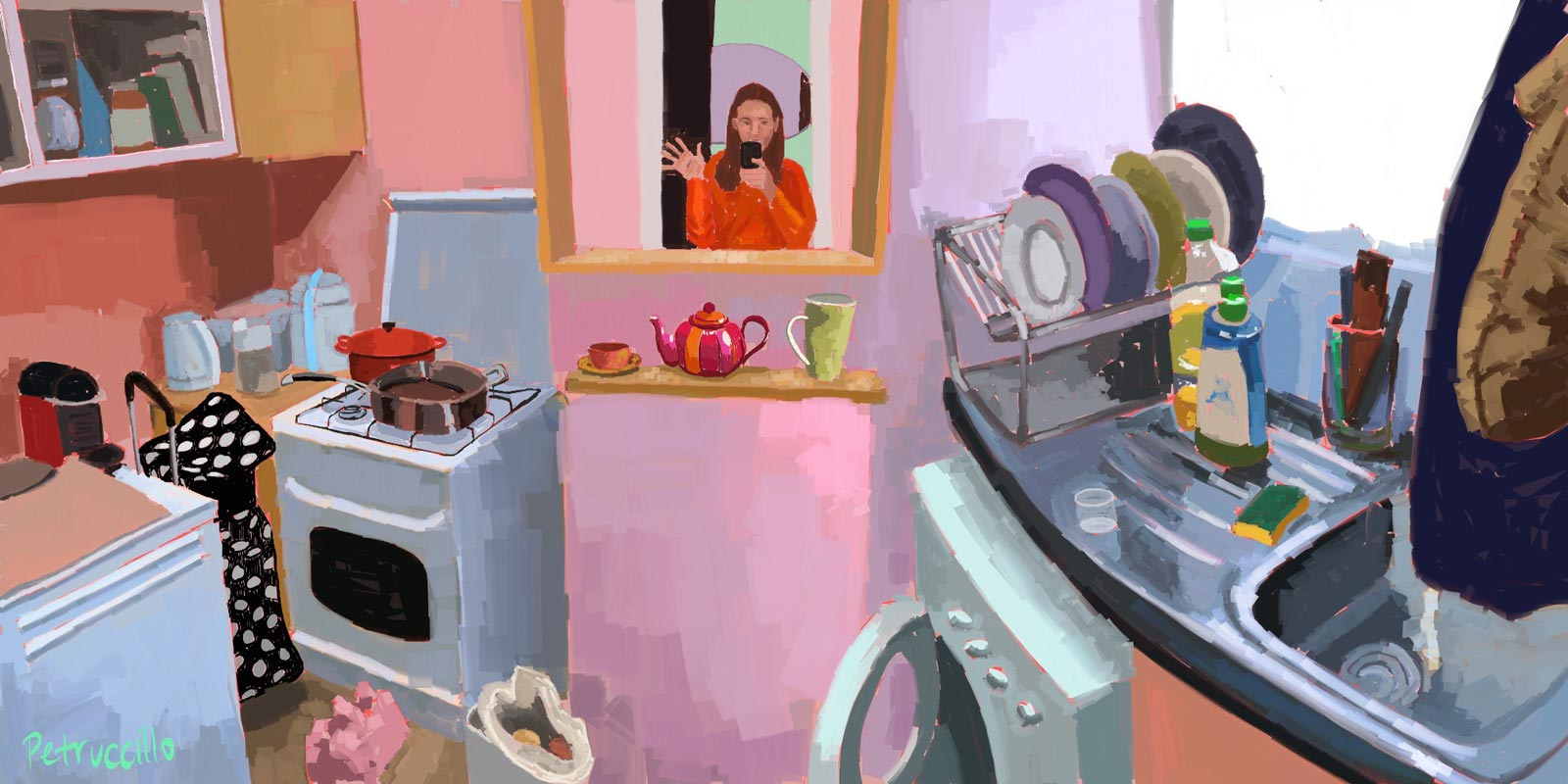 digital painting of the tiny pink kitchen in Strasbourg, France