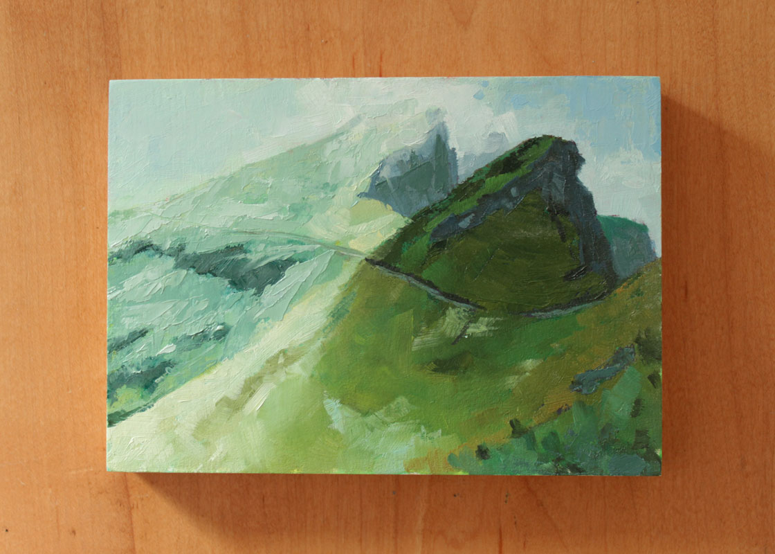 semi abstract landscape oil painting of an alpine walking trail in the high green and blue dolomite mountain range