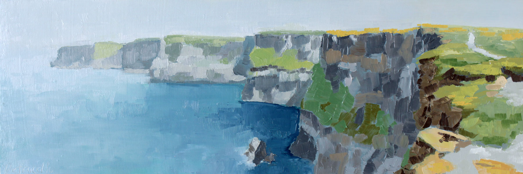 oil painting of the path that leads along the Cliffs of Moher in County Clare, Ireland