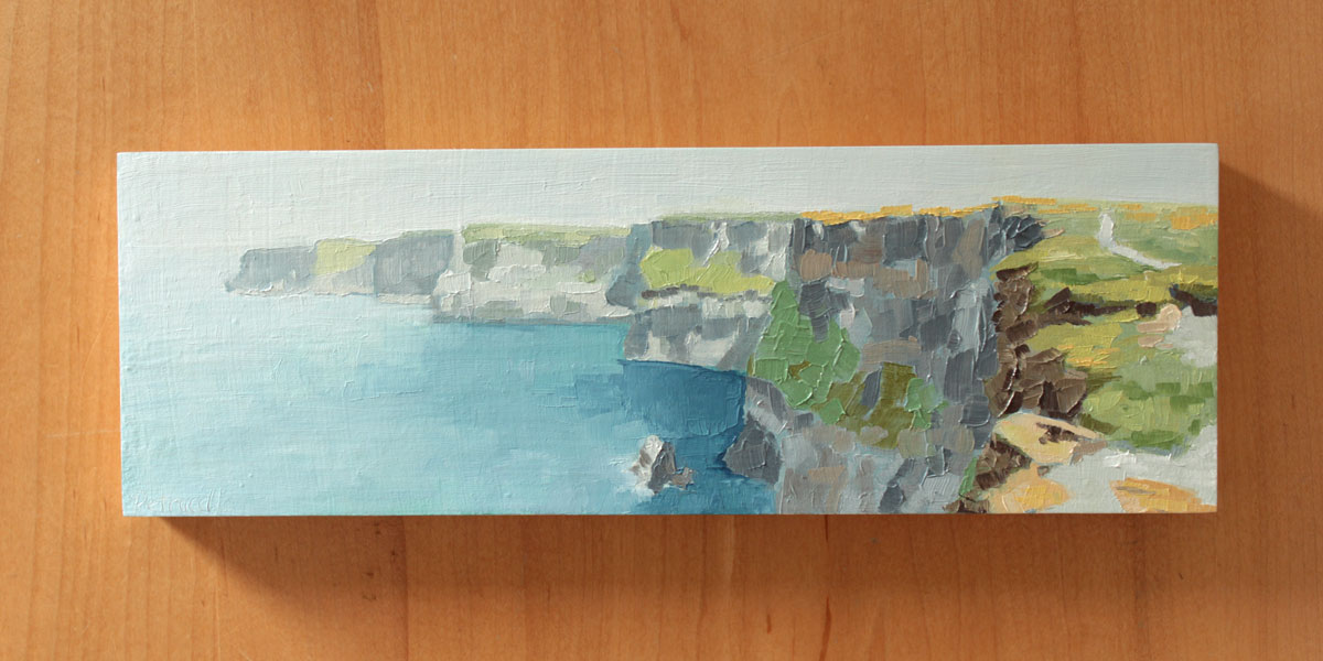 semi abstract landscape oil painting of the path that leads along the Cliffs of Moher in County Clare, Ireland