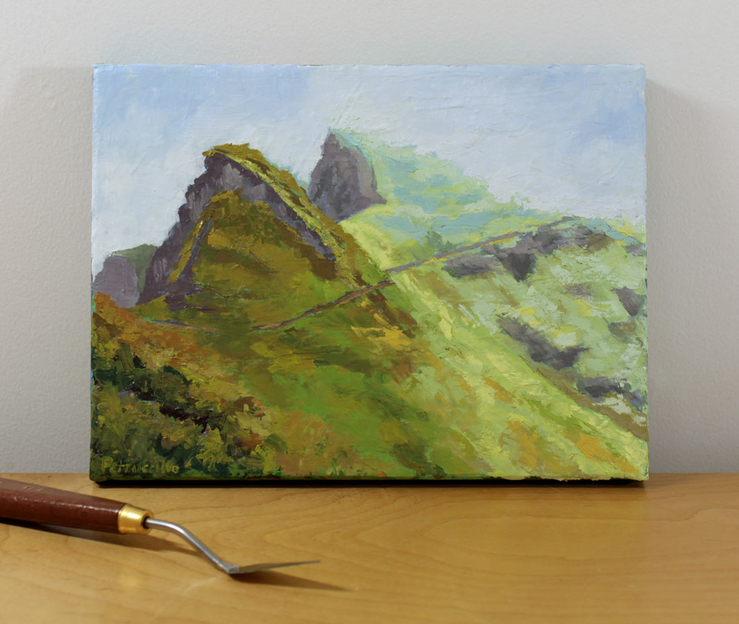 oil painting of an alpine walking trail in the high green and blue dolomite mountain range