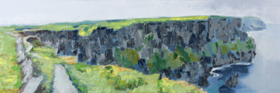 oil painting of the path that leads along the blue Cliffs of Moher in County Clare, Ireland