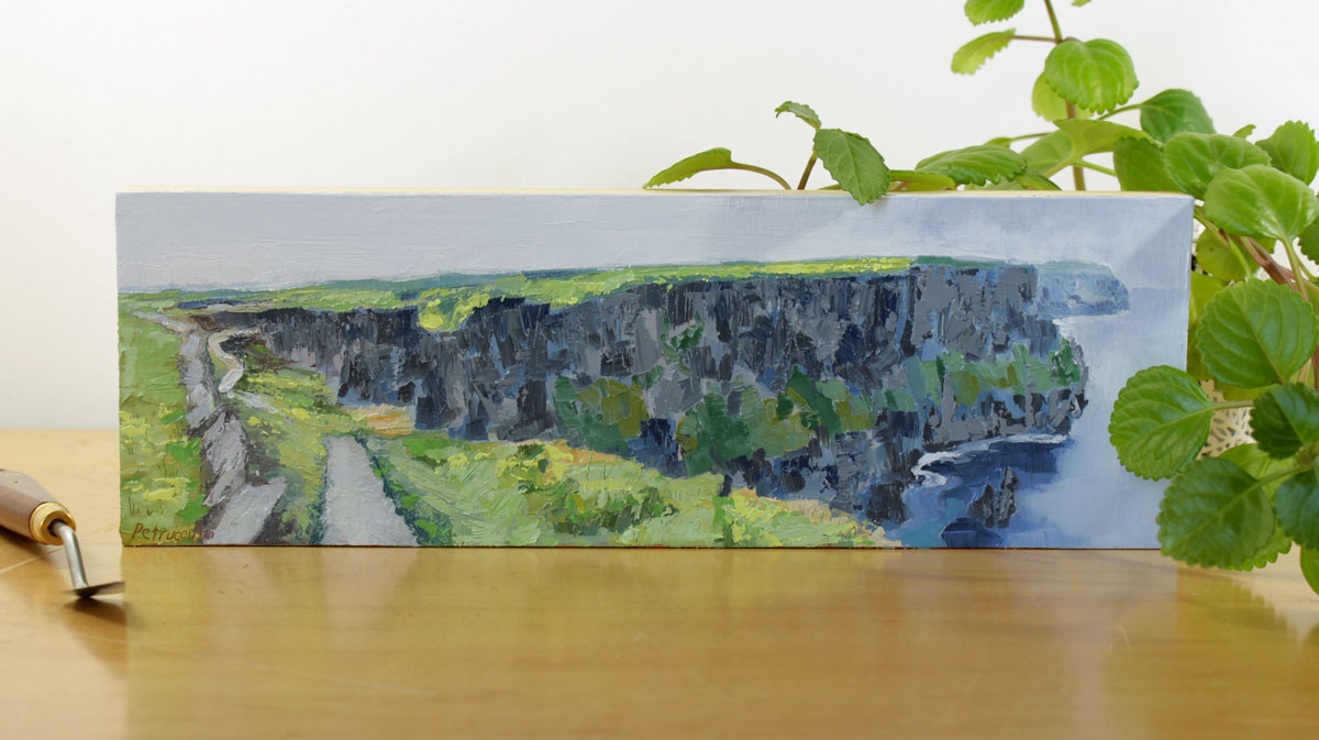 impressionistic landscape oil painting of the path that leads along the blue Cliffs of Moher in County Clare, Ireland