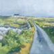oil painting of a country road through fields divided by old stone walls with a white cottage in the distance